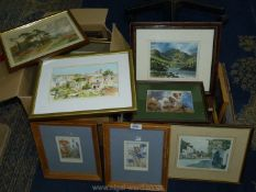Two boxes containing watercolours, prints, frames, etc.