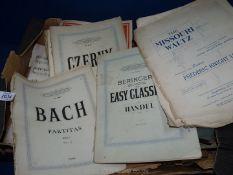 A quantity of Music Scores to include Bach Partitas, Handel, Missouri Waltz, etc.