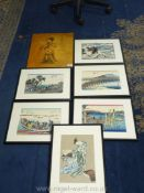 Six black framed Oriental prints of various landscapes along with a modern oriental print on canvas