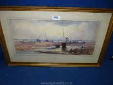 A framed and mounted Watercolour entitled 'Foreshore, Isle of Wight',