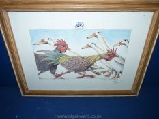 A framed Simon Drew print 'Poultry in Motion' signed in pencil in margin.