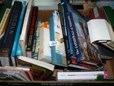 A box of books to include Lincoln, Sacred Elephant, The Eiger etc.