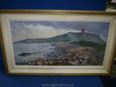 A large framed Oil on board depicting a coastal scene with large pebble beach,