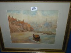 """A watercolour """"Lowtide"""", Harry Goodwin 1840-1925, signed with initials H.G."""