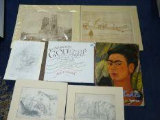 A quantity of unframed drawings, architectural prints, artwork, Frida Kahlo folder etc.