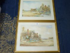A pair of framed and mounted Watercolours signed lower right Ernest T.