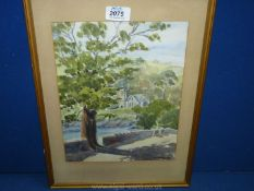 A framed and mounted Watercolour depicting a country landscape with church and country lane,