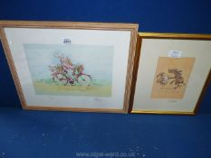 A framed print 'Party Animals' by Minter Kemp,