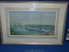 """A framed and mounted Watercolour signed lower left Anthony Kerr, label verso """"Ramsgate Harbour"""","""