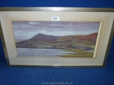 """A framed and mounted Watercolour, no visible signature, label verso Anthony Kerr """"By Llangorse Lake,"""