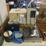 A quantity of assorted sundries, Dunhill Icon, wine decanter, assorted travel bags,