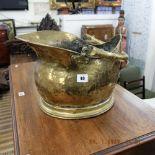 A brass Victorian coal bucket