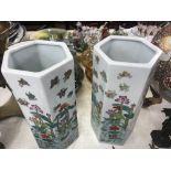 A pair of hexagonal oriental vases