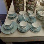 A Turquoise Cameo Minton coffee service
