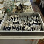 A quantity of assorted silver plated cutlery including a substantial part set
