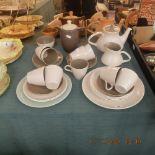 A vintage mid century Poole pottery coffee set