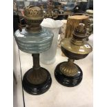 Two brass Victorian oil lamp bases