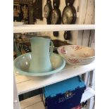 A jug and bowl set plus one other decorative bowl a/f
