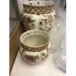 Two hand painted jardiniere Zsolnay Hungary