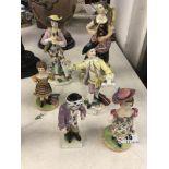 Six assorted Meissen style figures