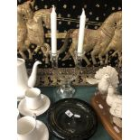 A crystal and glass candle holder and a Whitefriars ashtray