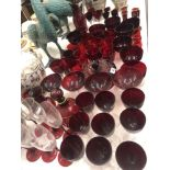 A quantity of ruby glassware