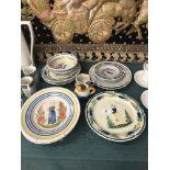 An assortment of Quimper china
