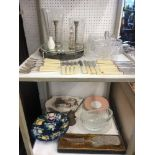 A quantity of assorted oddments including silver plate, crystal,
