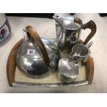 A five piece piquet ware tea set
