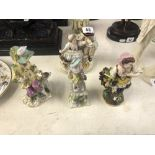 Four assorted Meissen style figures