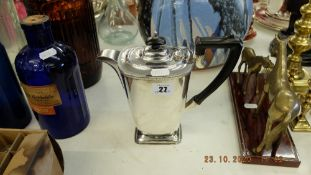 A silver plated hot water jug/ coffee pot