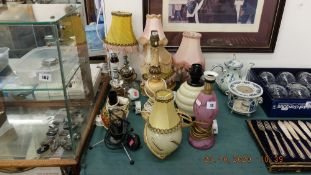An assortment of vintage lamps