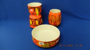 Three pieces of studio Poole pottery