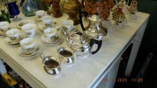 A silver plated Viners tea set