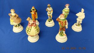 Seven assorted figures, Jesters etc.