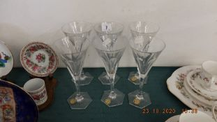 A set of six champagne flutes