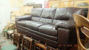 A leather three seater sofa
