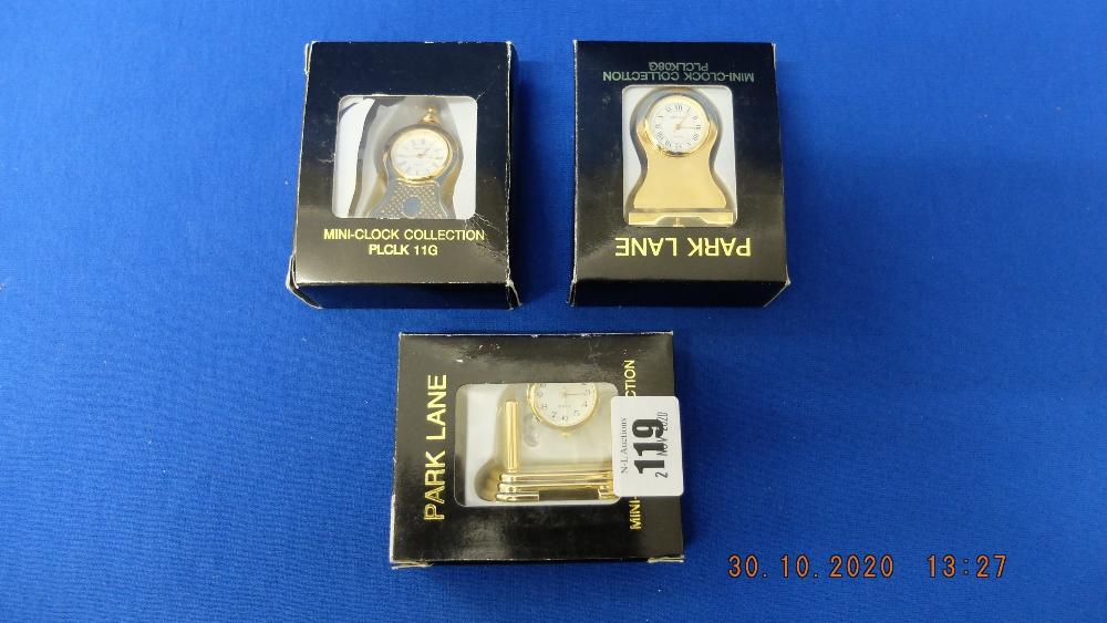 Three mini clocks, - Image 2 of 2