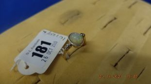 18ct yellow gold Opal and diamond ring, size U approx.