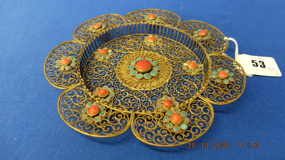 A brass patterned dish with turquoise stones etc. - Image 2 of 2