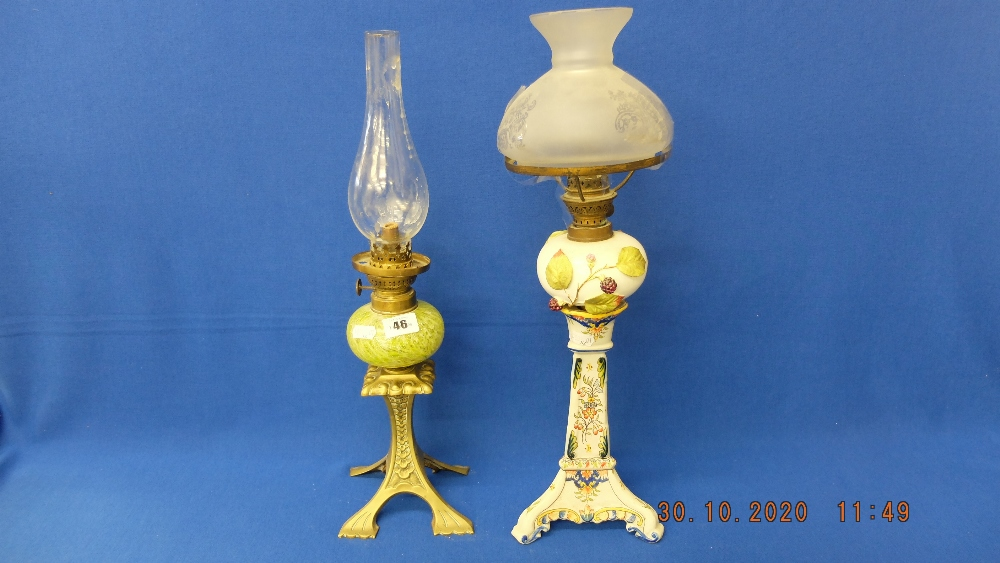 Two Victorian Peg lamps;