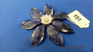 A large Lapis Lazuli and diamond brooch on 18ct gold base,