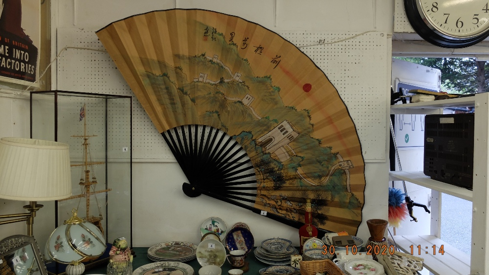 An early Chinese hand painted fan, 'Great wall of China',