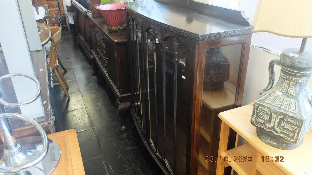 A mahogany display cabinet