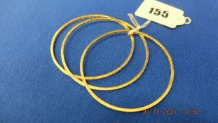 Three 18ct gold and diamond bangles, weight 27 grams,