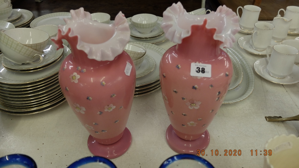 A pair of opaline hand blown vases, hand painted, - Image 2 of 2