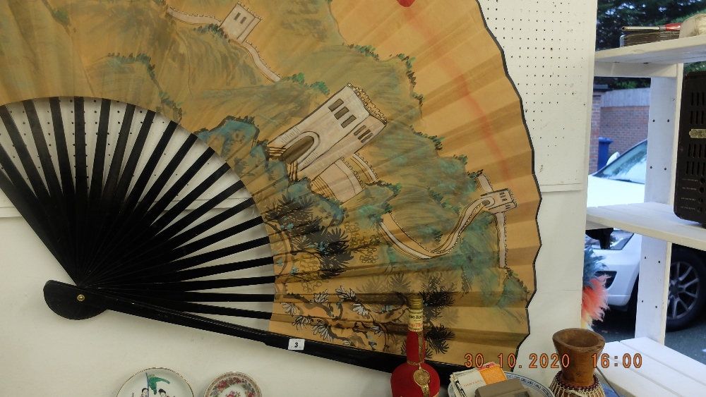 An early Chinese hand painted fan, 'Great wall of China', - Image 3 of 3