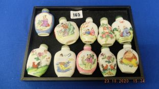 Ten assorted oriental scent bottles
