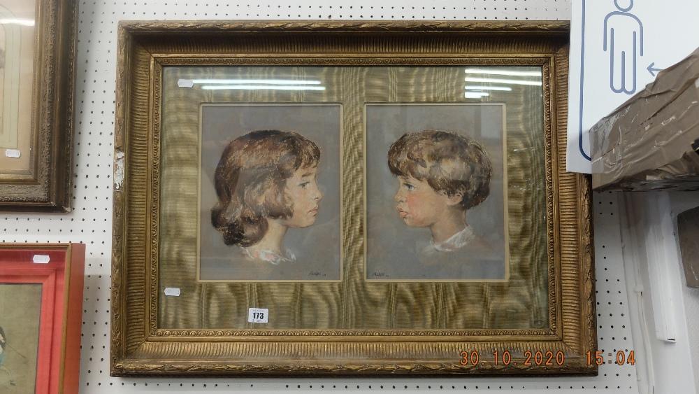 A gilt framed pastel of children - Image 2 of 2