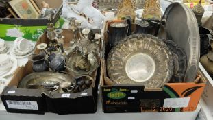 A box of assorted silver plate etc.